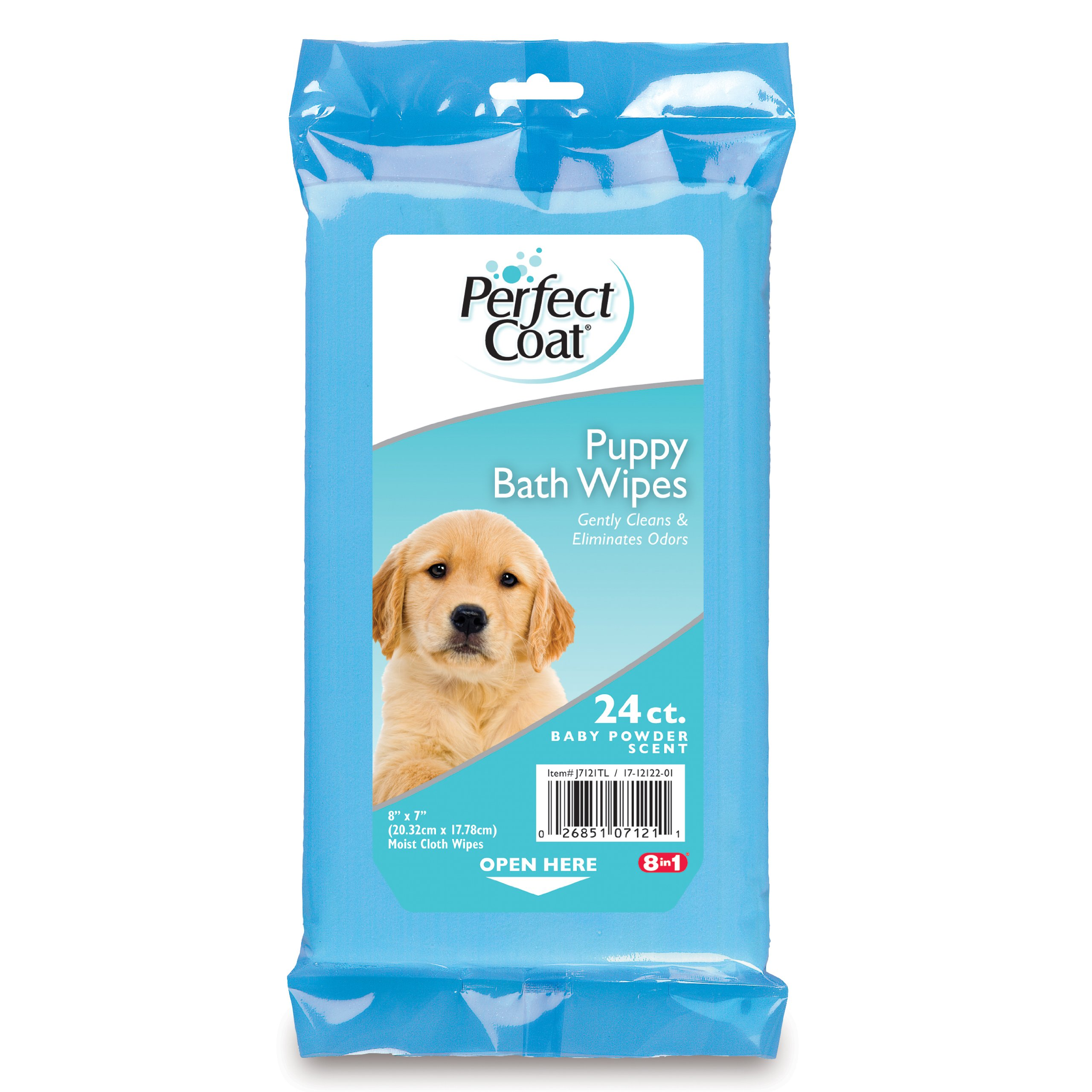 Perfect Coat Puppy Bath Wipes, Baby Powder Scent, 24-Count