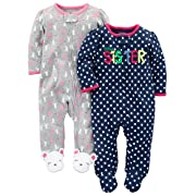 Simple Joys by Carter's Baby Girls' 2-Pack Cotton Footed Sleep and Play, Sister/Mouse, 6-9 Months