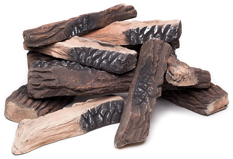 Amazon.com: Large Gas Fireplace Logs | 10 Piece Set of Ceramic ...