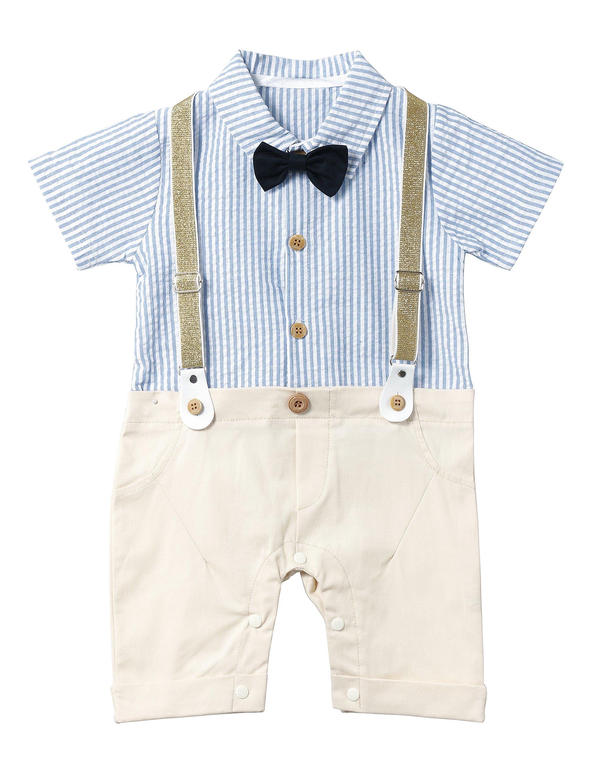 HeMa Island HMD Baby Boy Gentleman Blue Stripe Shirt Bowtie Tuxedo Onesie Jumpsuit Overall Romper(0-18M) (Blue, 70 (3-6months))