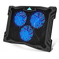 Tenswall 13''-17'' Laptop Cooling Pad with 3 Ultra-Quiet Blue LED Fans, Slim Portable USB Powered Chill Mat Cooler Stand