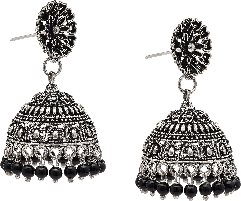 Zephyrr German Silver Jhumka Earrings Floral Design Filigree Work Dangle /& Drop