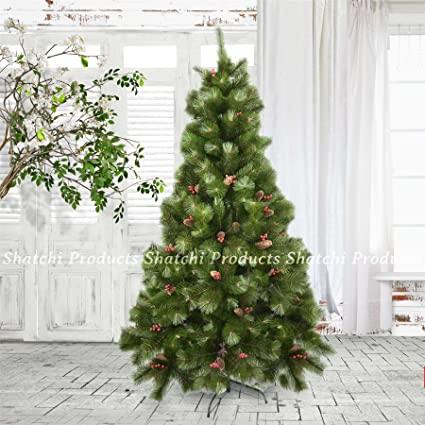 Elegante Albero Di Natale Artificiale Con Pigne E Bacche Rosse Alto