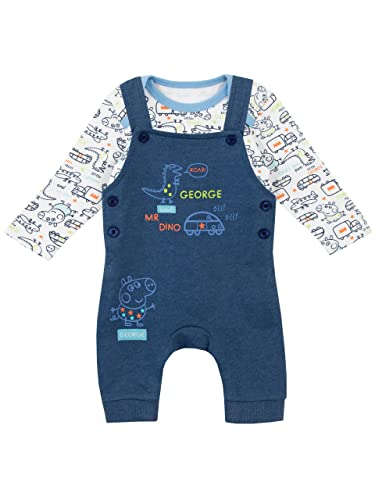 Peppa Pig Baby Boys George The Pig Dungaree Set Ages 0 to 18 Months