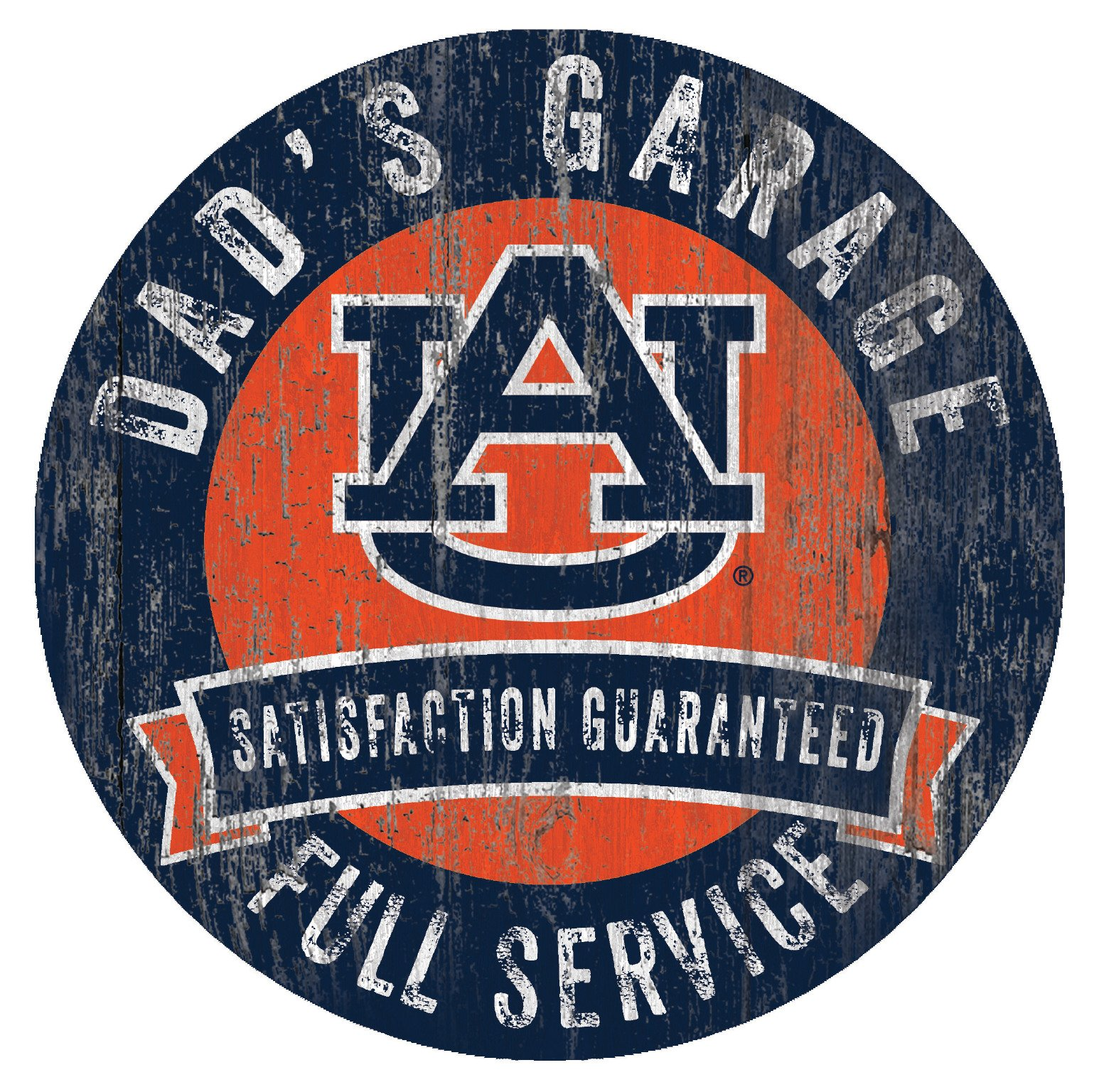 Auburn Tigers Dad's Garage 12'' Circle Wooden Sign