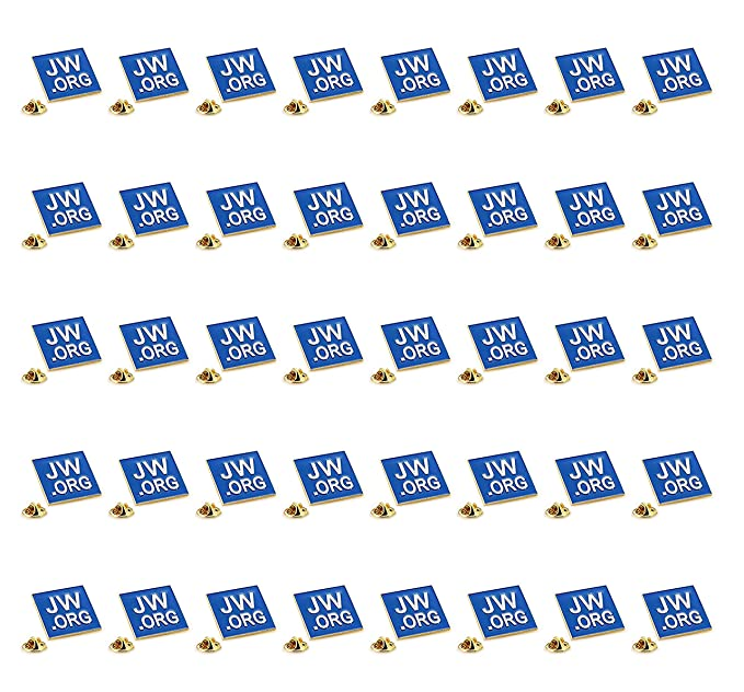 TANG SONG 40PCS JW.ORG Square Gold Lapel Pin Jehovah Witness JW.org Neck Tie Hat Tack Clip Women or Men Suits 1 Square Blue Lapel Pin