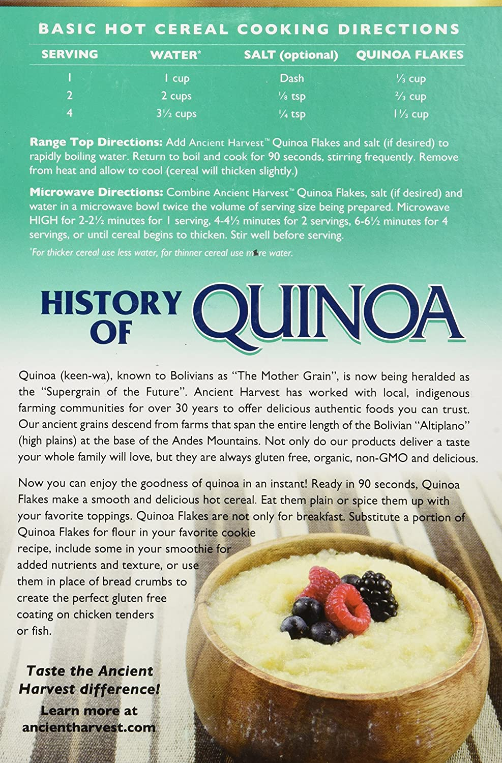 Amazon : One 12 Oz Ancient Harvest Quinoa Flakes : Dried Quinoa :  Grocery & Gourmet Food