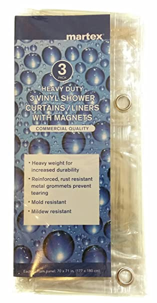Martex Heavy Duty 3 Pack Vinyl Shower Curtains / Liners With Magnets (Clear)