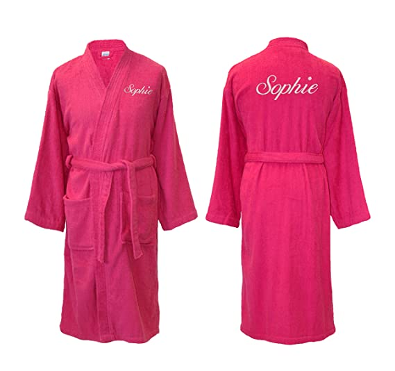 3001169f10 Personalised Embroidered Hot Pink Towelling Kimono Style Bathrobe Dressing  Gown (L XL Back Embroidery