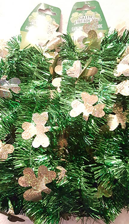 18 feet total Patricks Day Tinsel Garland 2-9 feet Tinsel Garlands Green - Gold Shamrocks St