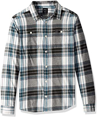 38feb6c2a Amazon.com  RVCA Men s Ludlow Flannel Long Sleeve Woven Button Up ...