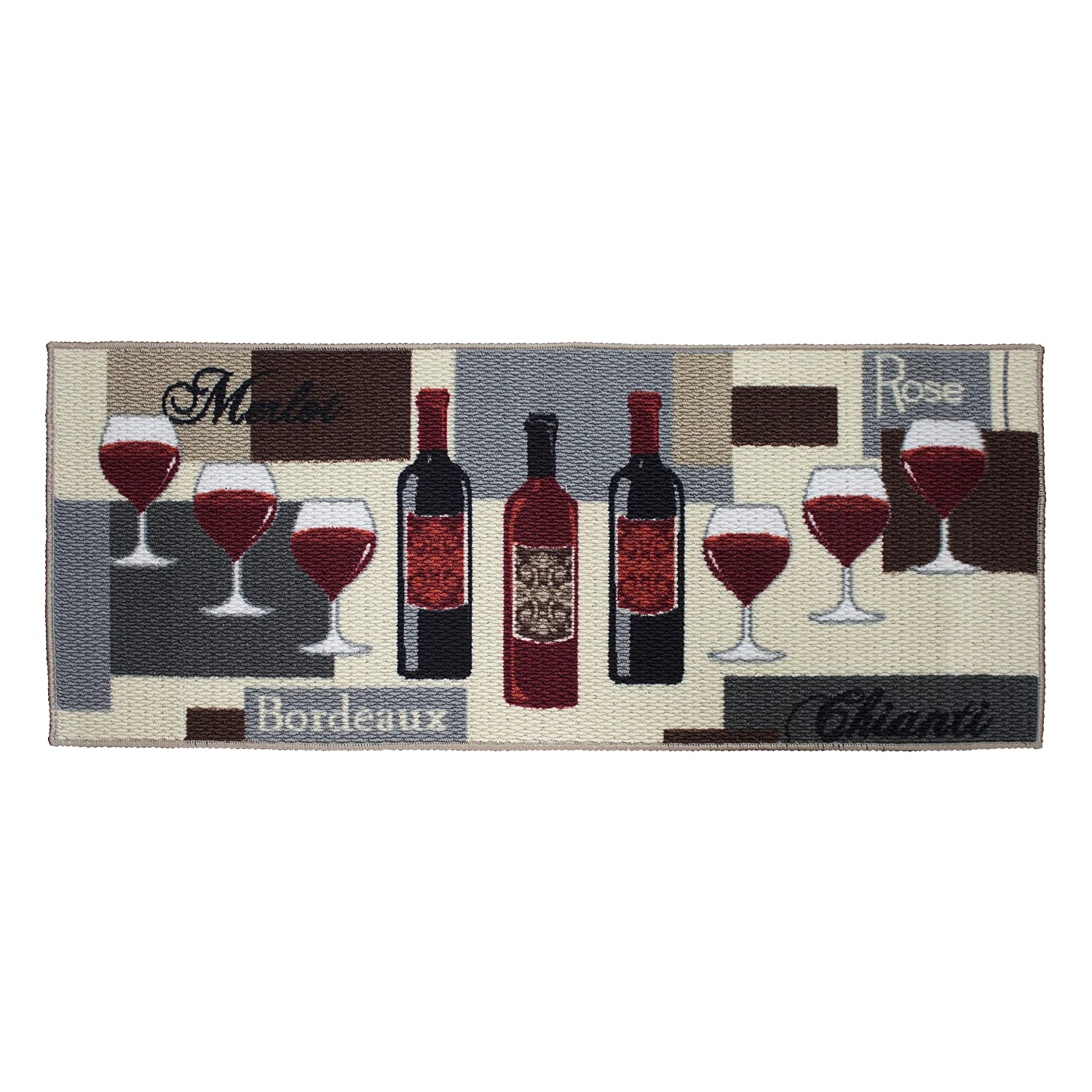 Structures Textured Loop 20 x 48 in. Runner Kitchen Accent Rug, Wine Time, Beige/Red/Grey YMF Carpets Inc. YMK003959