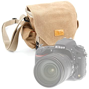 DURAGADGET Light Brown Medium Sized Canvas Carry Bag for Nikon D750 / D810  / D4s / D3300 SLR Camera - With Multiple Pockets & Customizable Interior
