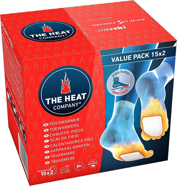 THE HEAT COMPANY Calentadores Pies - Extra CÁLIDO - Adhesivo - 8 Horas de pies Calientes - Calor instantáneo - Activado por Aire - Puro Natural - para Todos Las Tallas - 15 Pares