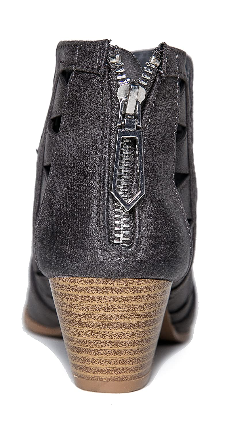 ZooShoo Leatherette Angular Cut Out Zipper Closure-Chunky Stacked Heel Boho-Chic Bootie