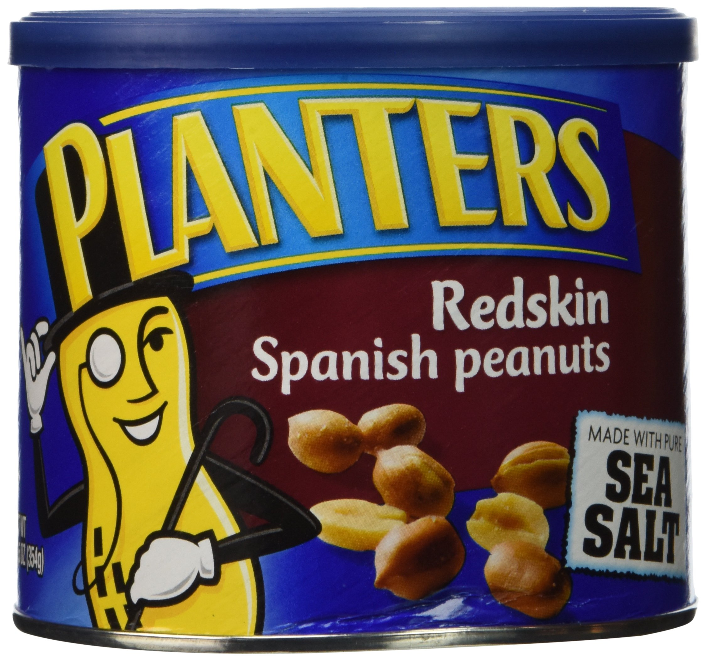 Planters Redskin Spanish Peanuts Sea Salt, 12.5 OZ (Pack of 6)