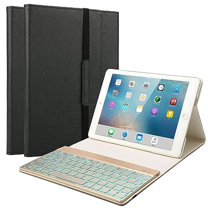 0e3979f011 New iPad 2018 Keyboard Case, BoriYuan 7 Colors Backlit Wireless Bluetooth  Keyboard with PU Leather