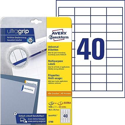 Avery Zweckform 4780 Universal Etiketten Mit Ultragrip 48