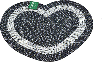 """Emerald Wholesale Heart Shaped Braided Rug, 20"""" X 30"""", Navy Blue"""