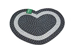 "Emerald Wholesale Heart Shaped Braided Rug, 20"" X 30"", Navy Blue"