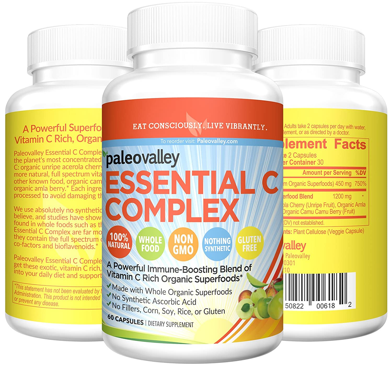 Paleovalley: Essential C Complex (450 mg, 30-Day Supply) - Vitamin C  Supplement - 750% of Daily Value
