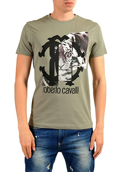 ac509dde Amazon.com: Roberto Cavalli Men's Gray Graphic Print T-Shirt: Clothing
