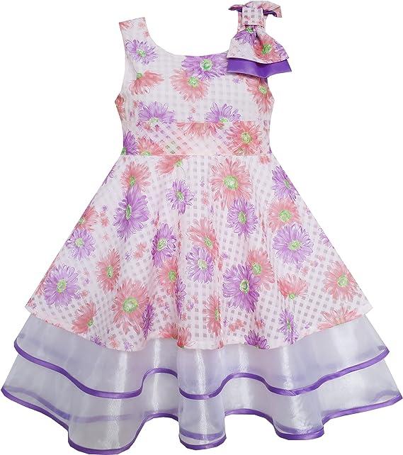 Vestido para niña Morado Flor Encaje Recortar Corbata de moño Sin ...