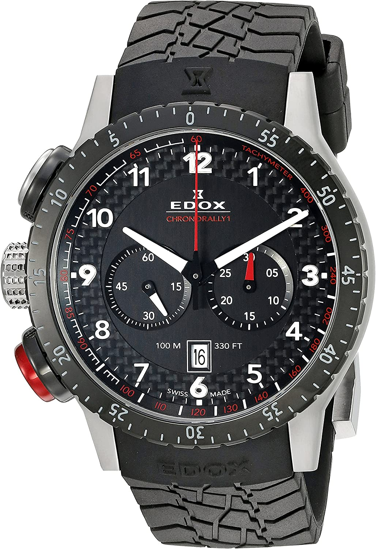 EDOX EDOX Rally Instruments CHRONORALLY 1 - Reloj de Cuarzo Unisex, Correa de Goma Color Negro
