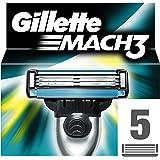 Gillette Mach3 Lamette di Ricambio, Confezione da 5 Lamette