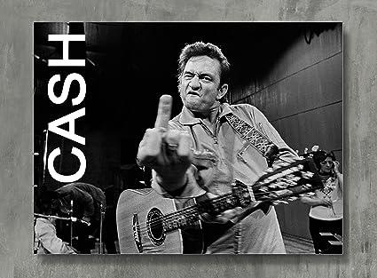 Amazon.com: Johnny Cash Poster - Cash Canvas Print Classic Rock Wall ...
