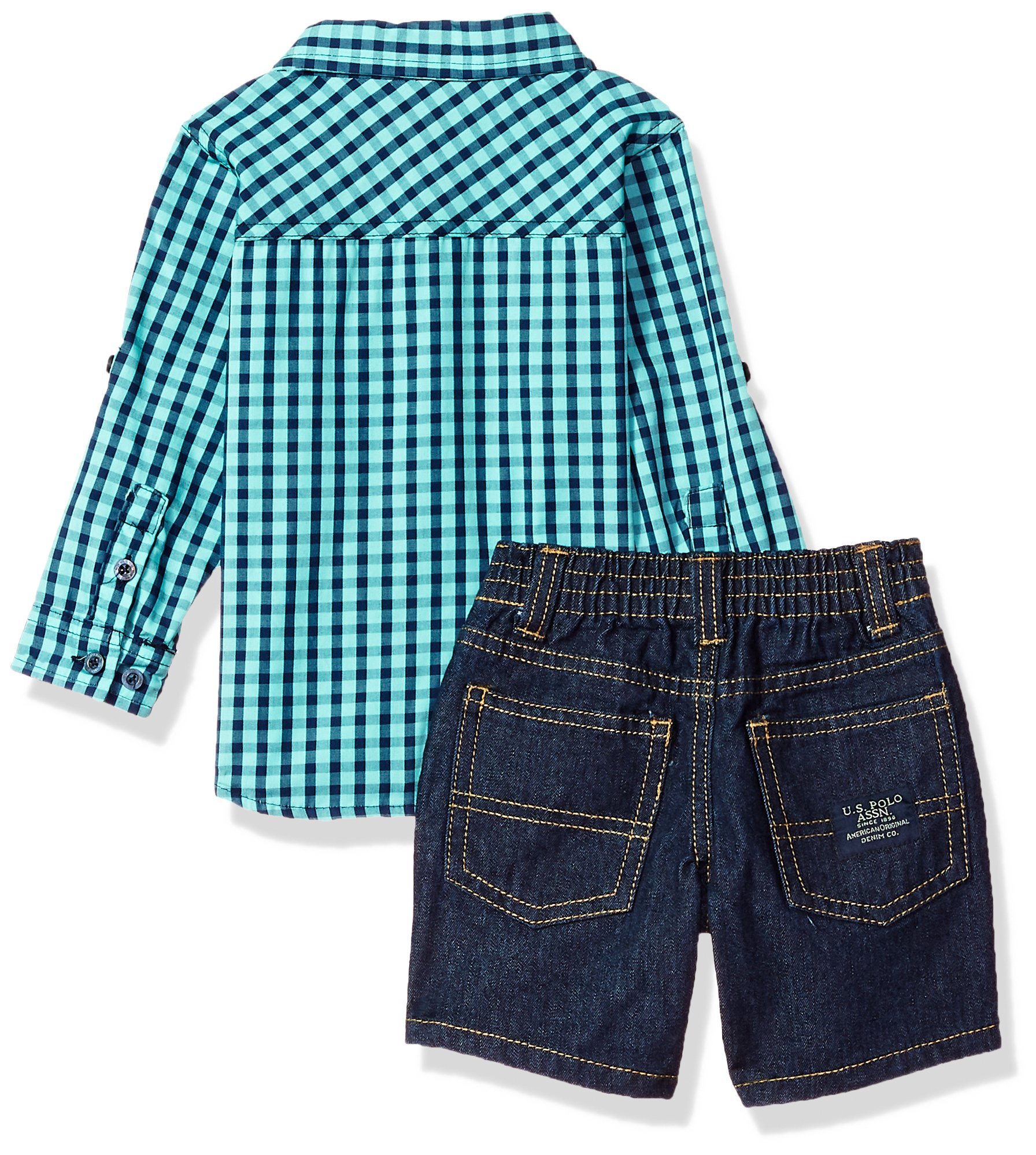 U.S. Polo Assn.. Baby Boys Long Sleeve Woven Shirt, T-Shirt and Short Set, Printed Fine American Clothing Multi Plaid, 12M by U.S. Polo Assn. (Image #2)