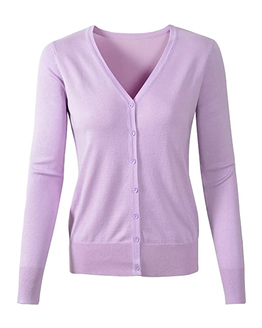 869f2ad875 Womens V Neck Button Down Long Sleeve Basic Soft Knit Cardigan Sweater (US  Large Tag 2XL