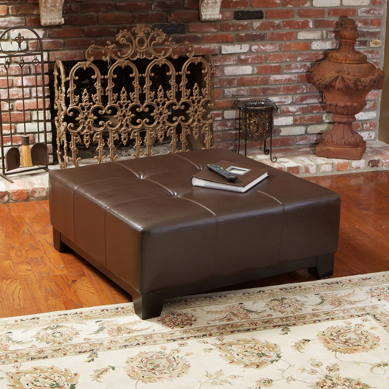 Brown leather ottoman - Brown Leather Ottoman 11