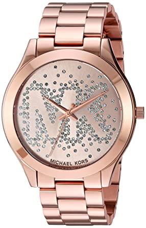 05458fb285c6 Image Unavailable. Image not available for. Color  Michael Kors Women s  Slim Runway Rose Gold Tone Stainless Steel Watch MK3591