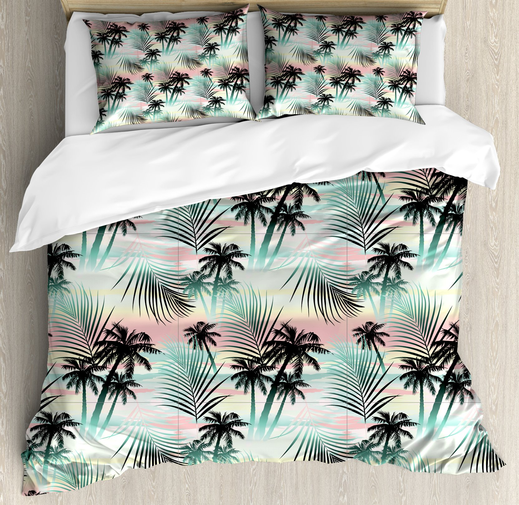 Hawaii Duvet Cover Set Queen Size by Ambesonne, Summer Season Palm Trees and Exotic Fern Leaves with Abstract Colorful Background, Decorative 3 Piece Bedding Set with 2 Pillow Shams, Multicolor