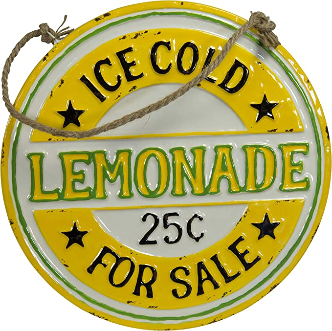 VIPSSCI Lemonade for Sale Sign Round Metal Sign with Rope Hanger Kitchen Wall Art