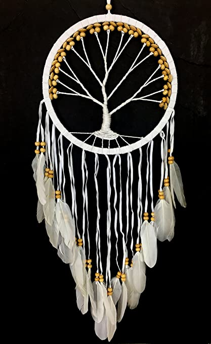 Amazon OMA Dream Catcher TREE OF LIFE White Suede Interesting Aboriginal Dream Catchers