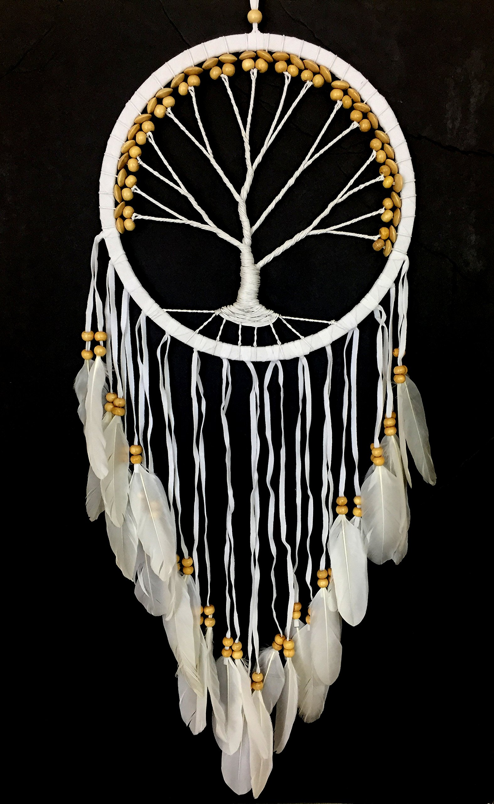OMA Dream Catcher - TREE OF LIFE White Suede Dreamcatcher With Feathers & Wood Beads - LARGE SIZE - 36'' Long x 11'' Diameter BRAND (Beige)