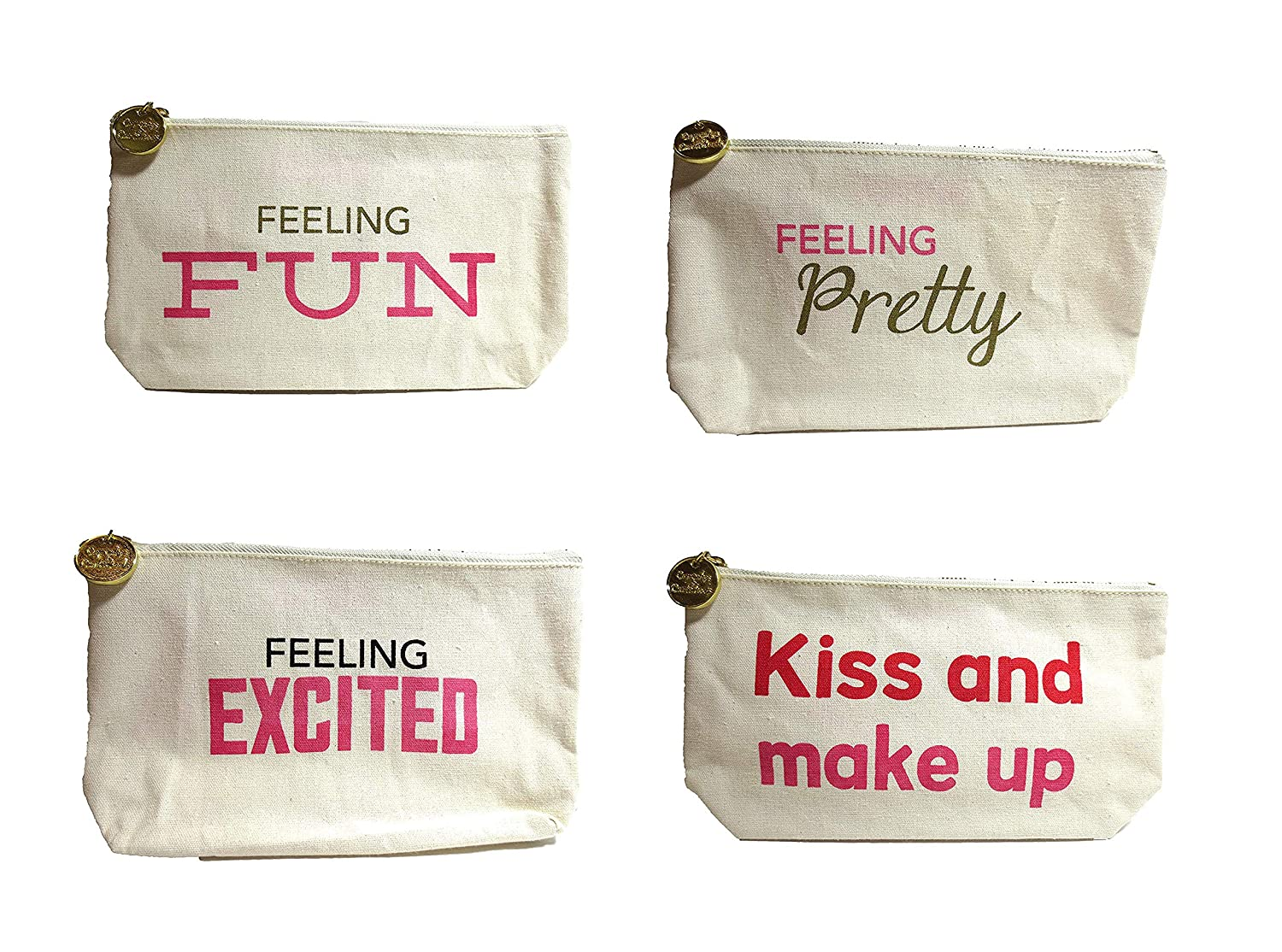 Amazon.com Set of 4 Canvas Zippered Bag, Pencil Case