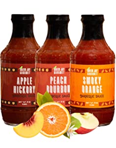 Green Jay Gourmet BBQ Sauce - Sweet Sampler - Smoky Orange, Apple Hickory & Peach Bourbon Barbecue Sauce - All-Natural BBQ Sauce for Meats, Veggies & Other Foods - 19 Ounces, Pack of 3