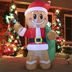 Joiedomi 6 FT Tall Santa Helper Gingerbread Man with Build-in LEDs Blow Up Inflatables for Xmas Party Indoor, Outdoor, Yard, Garden, Lawn Winter Decor.Christmas Inflatable Decoration