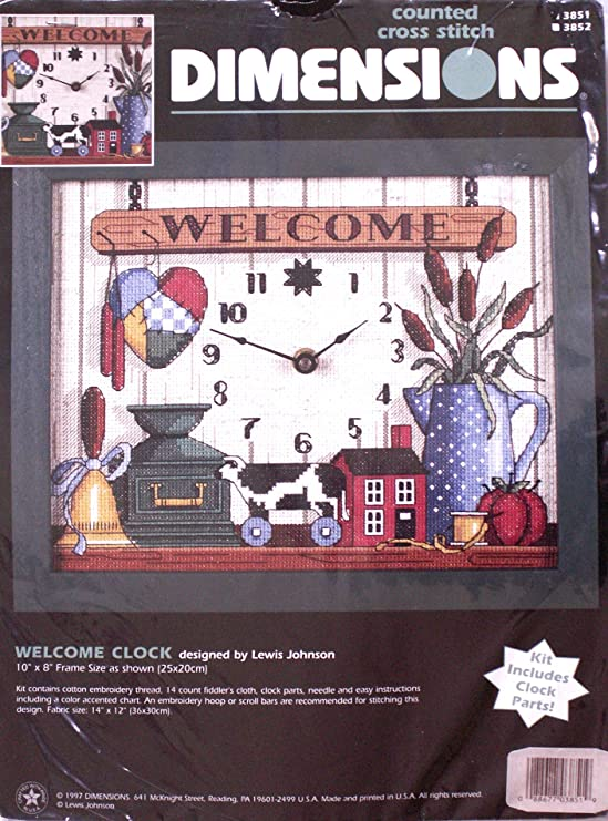 CL65 Kikkerland Cross Stitch Clock