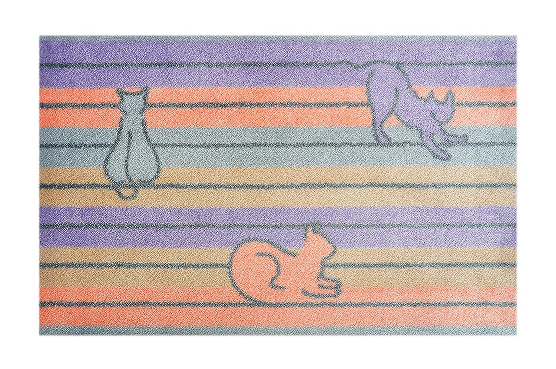 Alfombrilla Lifestyle 150111 Felpudo Gatos Pastel, Antideslizante y Lavable, microfibras, 40 x 60 cm, Lila/Beis / salmón: Amazon.es: Hogar