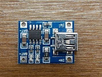SODIAL(R) TP4056 1A Modulo embarcar cargador lipo de carga de bateria de litio DIY Mini Puerto USB Azul