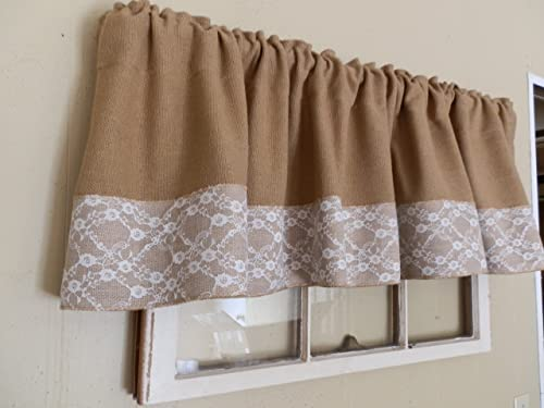CC Burlap White Lace Handcrafted Window Valance 16 x 72 Soft Burlap Fabric No- Hassel Returns