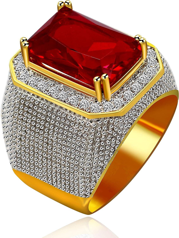 Uloveido Men's Gold Plated Emerald Cut Simulated Onyx Ring Wedding Band Super Big CZ Hip Hop Rings RA408