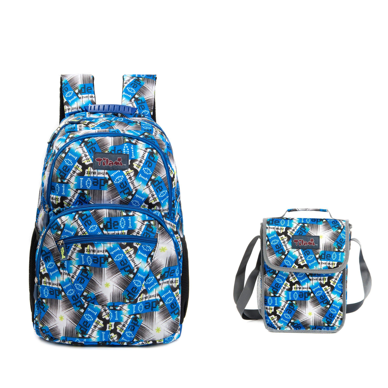 Tilami Students Backpack 14 Inch School Bag with lunch bag set (bule star 1) by Tilami