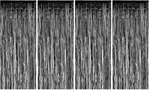 Allgala 4PK 3.3 x 8.2 FT (1x2.5M) Metalic Tinsel Party Photo Backdrop Curtains Door Fringe Décor-Black-BD52502