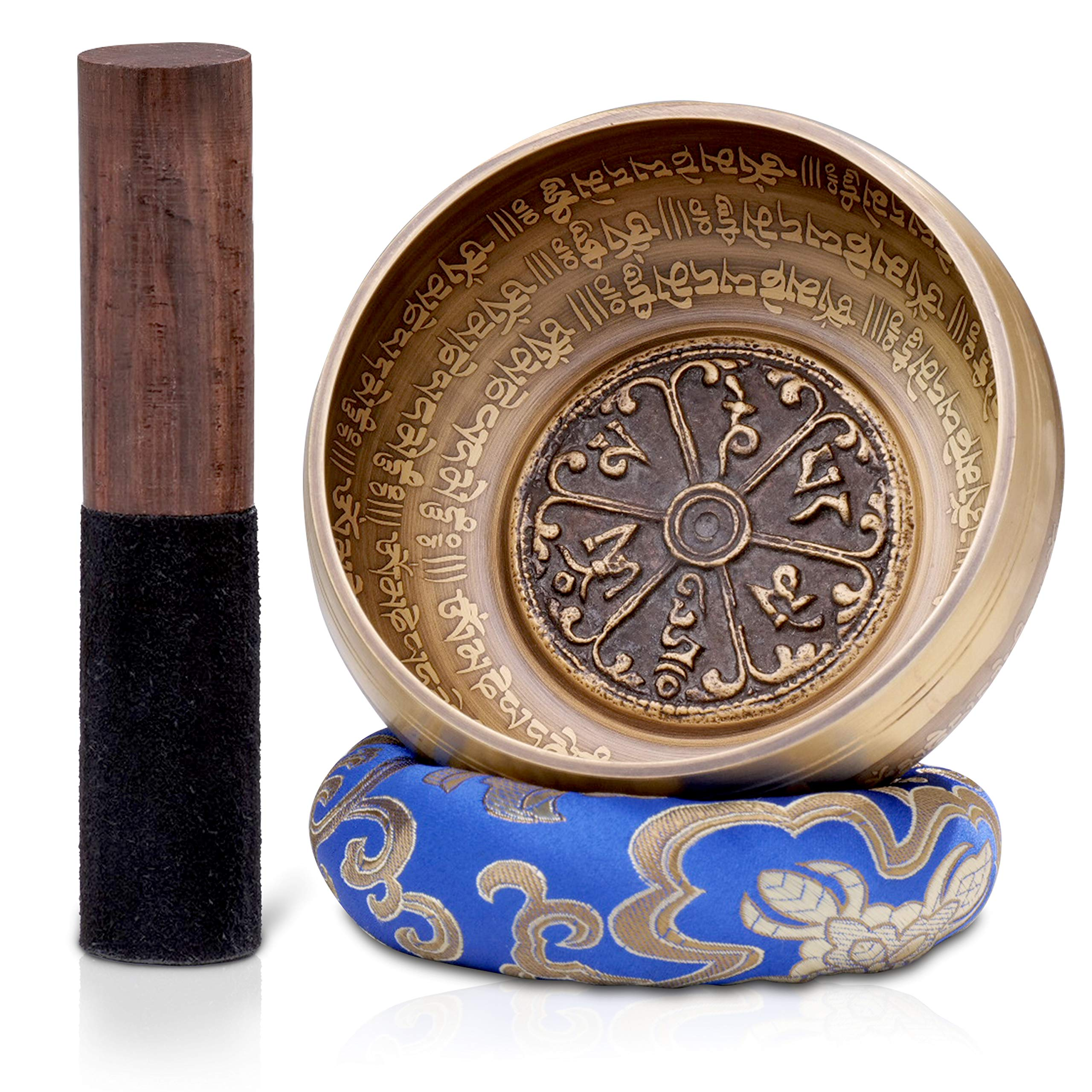 Dhyana House Tibetan Meditation Singing Bowl Set With Mallet,Ring Slik Cushion and Large Travel Box for Yoga, Healing, Reiki, Zen, Relaxation, Chakra and Music Handmade in Nepal (5 Inch, Blue) by Dhyana House