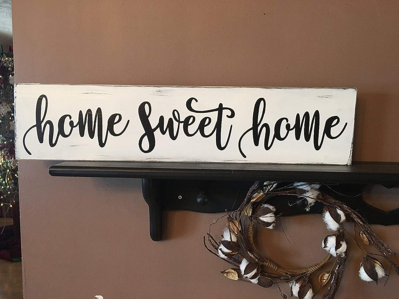 Qui556 Home Sweet Home Cartel de Madera teñida Hecho a Mano ...
